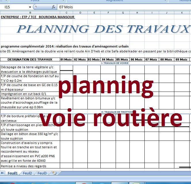 exemple de planning travaux route sur excel cours g nie civil outils livres exercices et. Black Bedroom Furniture Sets. Home Design Ideas