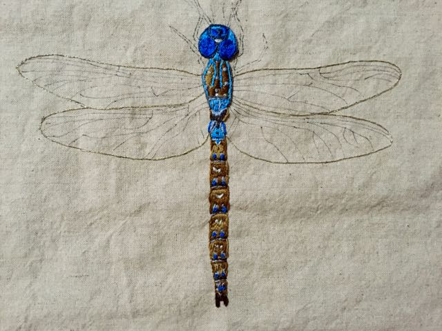 When You Love Blue Dragonfly Embroidery In Progress