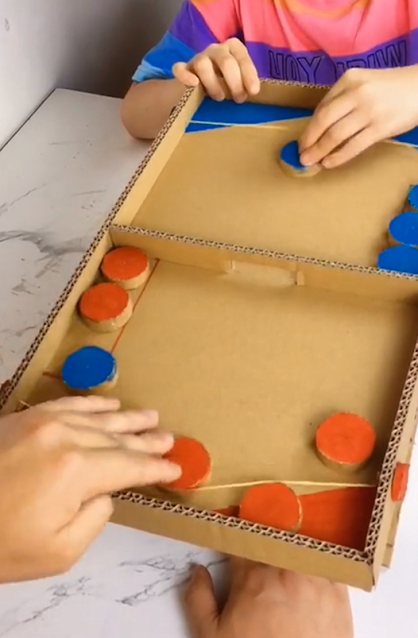 DIY cardboard puck game table