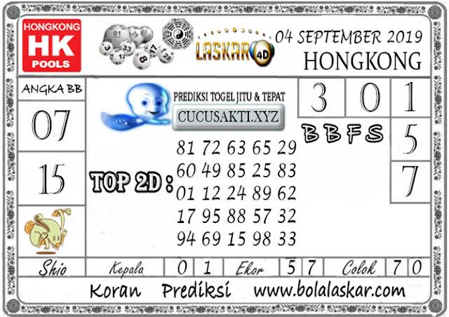Prediksi Togel HONGKONG LASKAR4D 04 SEPTEMBER 2019