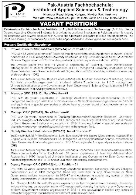 Jobs in Pak-Austria Fachhochschule (A Public Sector Degree Awarding Chartered Institute)
