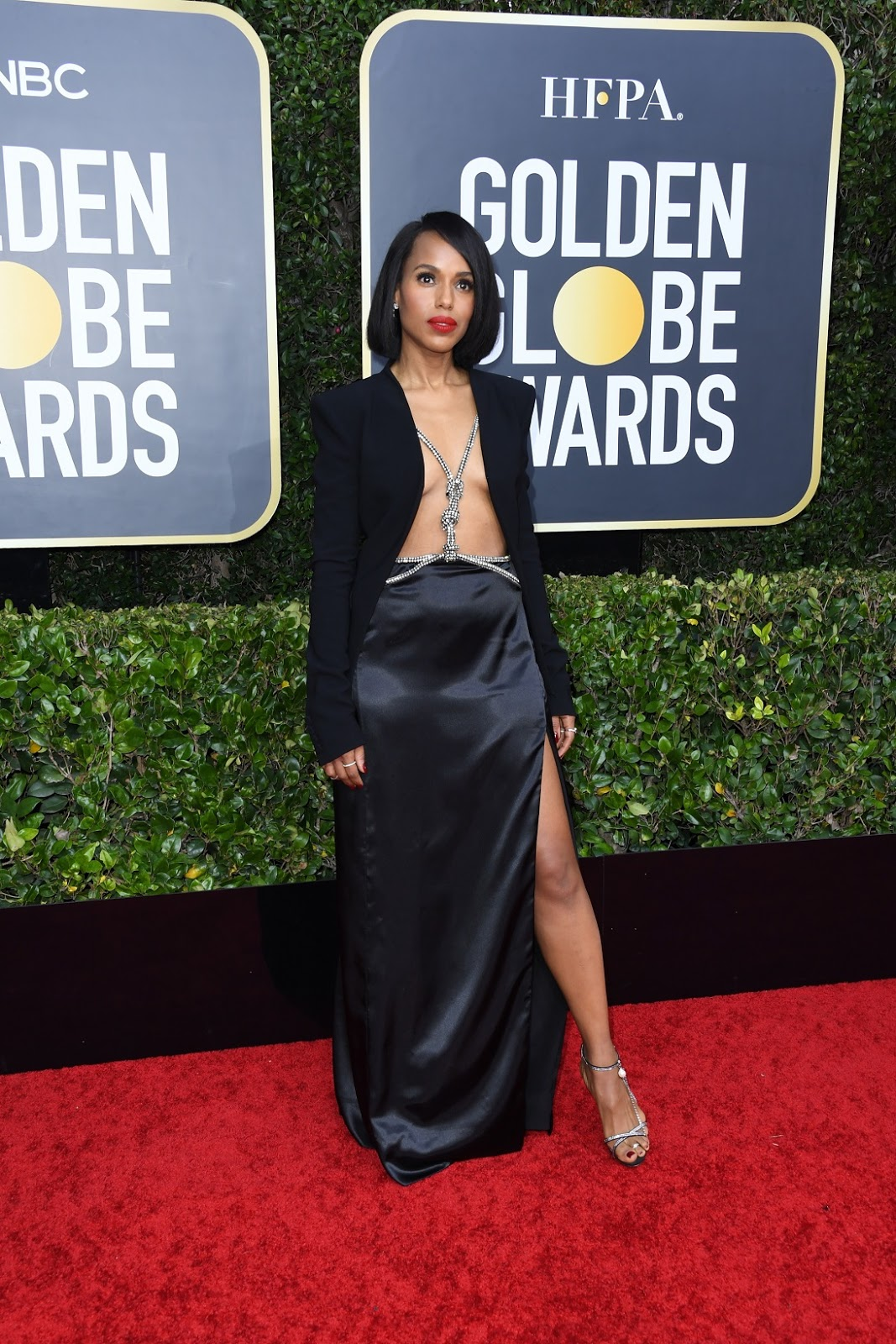 Kerry Washington Channels Her Inner Rihanna Wearing A Diamond Harness With A Black Blazer At The 2020 Golden Globes