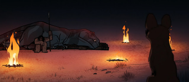A wild dog watches Fang, the tyranosaurus, sleeping, guarded by her vigilant companion, Spear. A fire burns to the far left of the image. The dog has its back t o the viewer: we assume Spear and Fang are unaware of its presence.