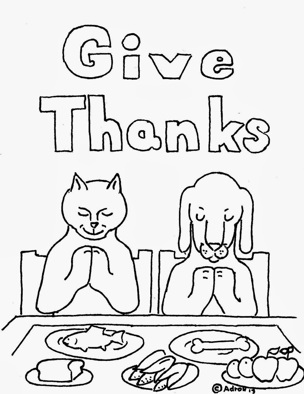 Coloring Pages for Kids by Mr. Adron: Animals Give Thanks