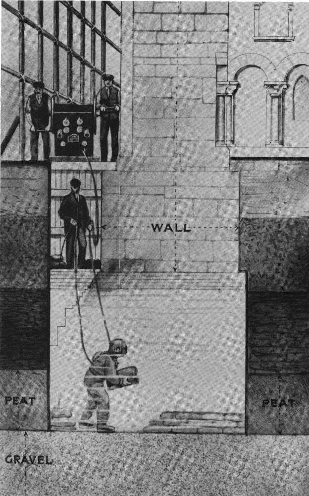 Illustration showing how William Walker worked underwater laying bags of concrete