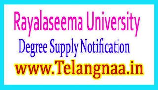 Rayalaseema University Degree 1st 2nd 3rd year Supply Notification 2017
