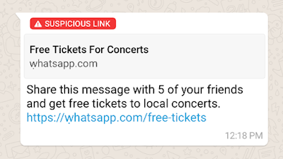 Contoh tautan mencurigakan ini diperlihatkan WhatsApp