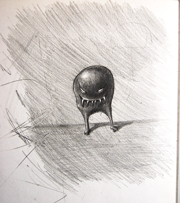 Pencil drawn grinning monster with spherical form