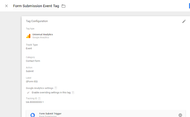 google tag manager form submission goal tag