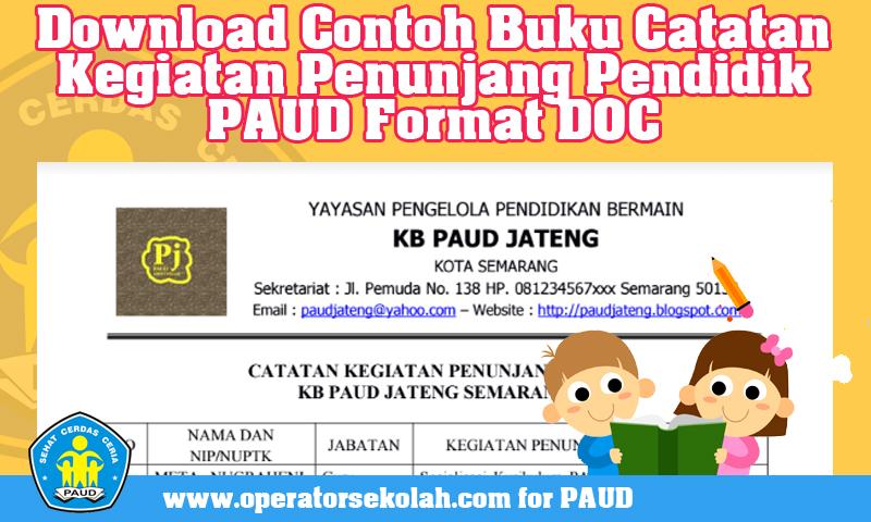 Download Contoh Buku Catatan Kegiatan Penunjang Pendidik PAUD Format DOC