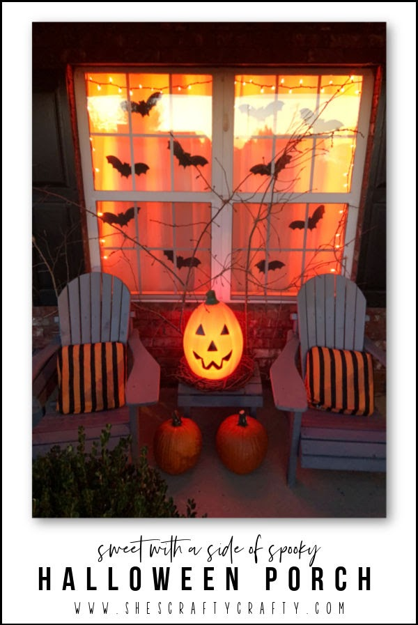 Halloween Porch - pumpkins, spiders, spiderweb, bats
