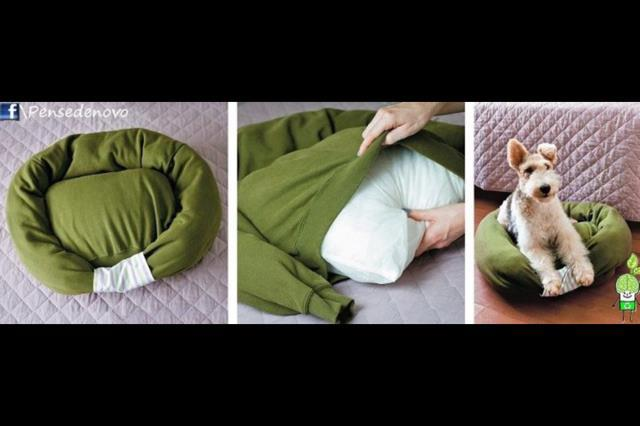 I think this is brilliant. 1) It reuses/ recycles an old sweatshirt. 2) Jaz already sleeps on my laundry pile anyway so I think she\u0027d love it. & My Favorite Pup Jasmine: DIY Dog Bed! pillowsntoast.com
