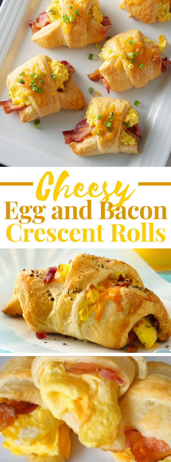 Cheesy Egg and Bacon Crescent Rolls #diet #breakfast