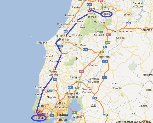 mapa de portugal lisboa fatima Movimento Caminhos Peregrinos: «Caminho do Mar» para peregrinos de  mapa de portugal lisboa fatima