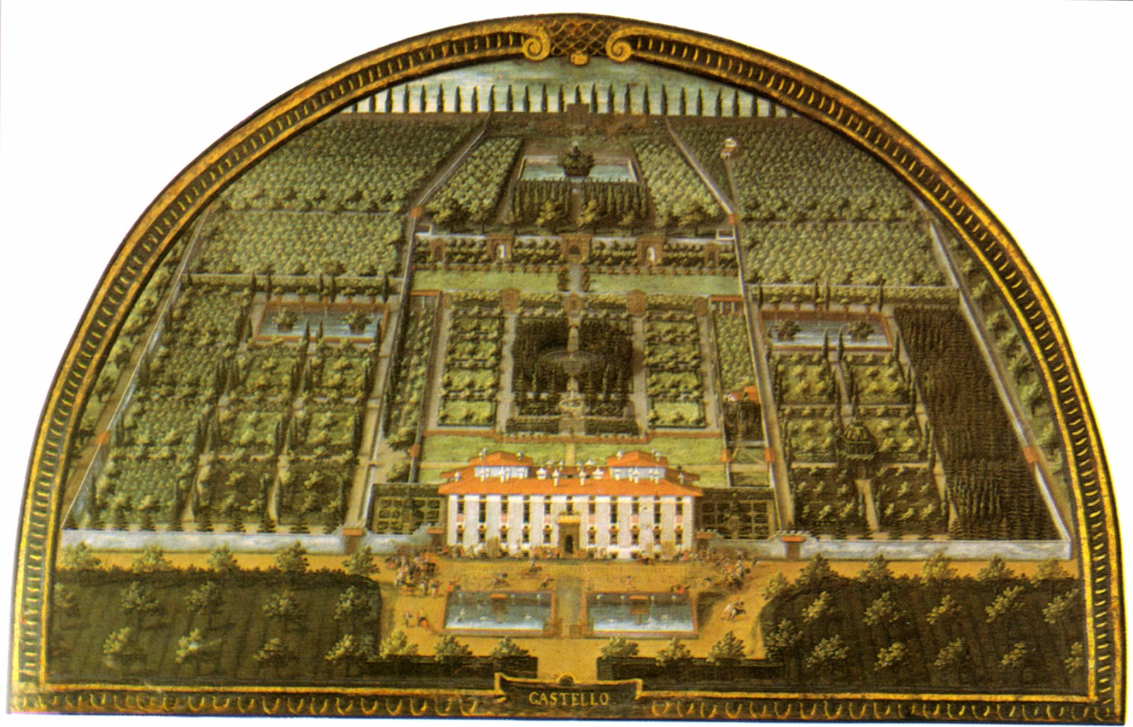 Lunette of Villa di Castello as it appeared in 1599, painted by Giusto Utens