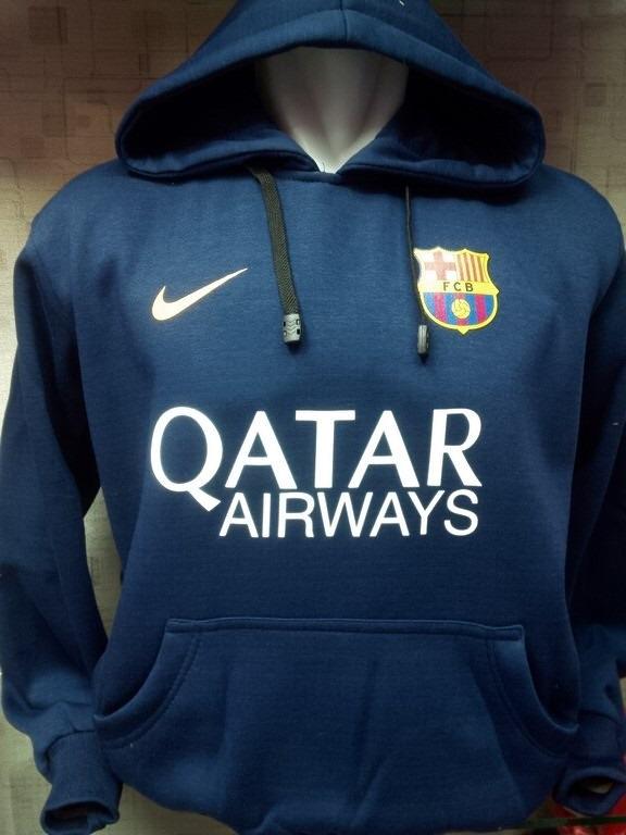 Jaket hoodie Barcelona warna navy terbaru