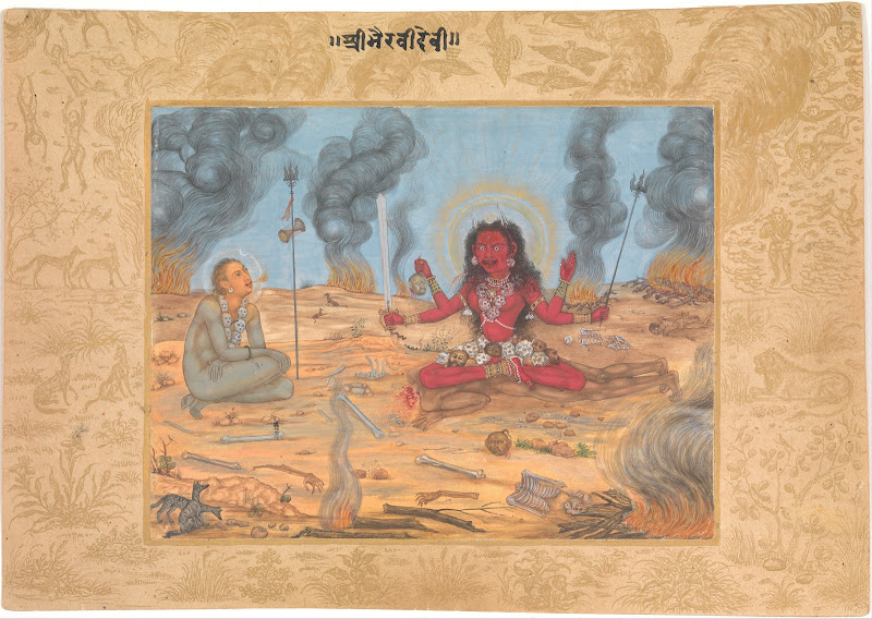 The Goddess Bhairavi Devi with Shiva, 17th Century Mughal Painting