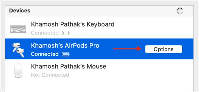 انقر فوق خيارات بجوار AirPods Pro