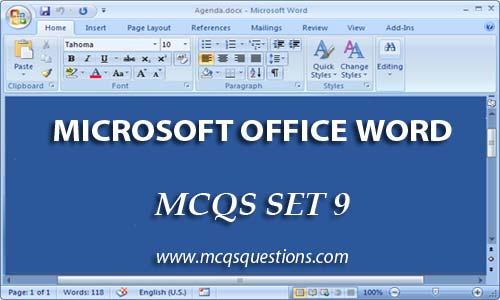ms office mcqs set 9