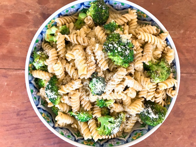 Spiral Pasta with Parmesan-Roasted Broccoli