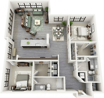 2 bedroom floor plans with combined living, dining and breakfast nook