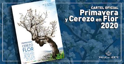 """Cartel oficial """"Primavera y Cerezo en Flor 2020"""". Valle del Jerte"""