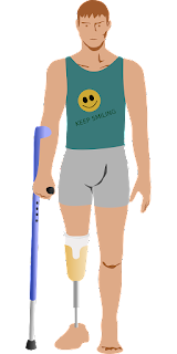 Drawing of a man with prosthetic leg using a crutch