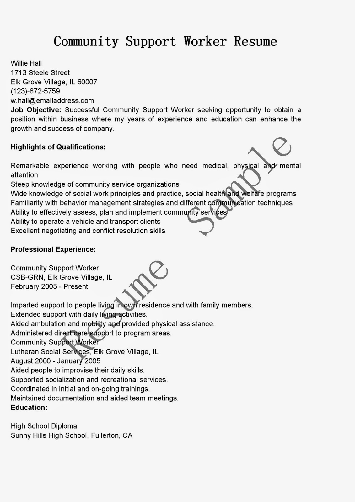 Resume samples community support worker resume sample for Cover letter for community support worker position
