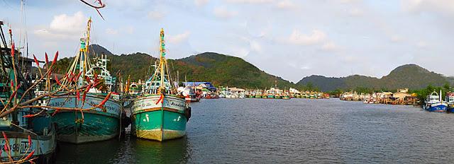 Khanom Harbor beside the market