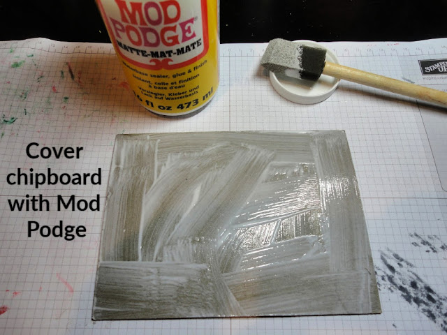 photo tutorial for Halloween decor piece using Monster Bash DSP and chipboard packing by Nicole Steele The Joyful Stamper