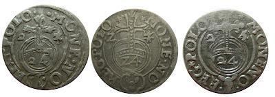 Przebitki dat w półtorakach bydgoskich: 1623, 1625 i 1627
