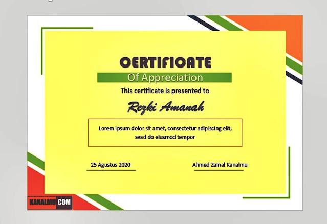 Download template sertifikat gratis