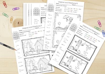 Nutze die Original und Fälschung Bilder in deinem Unterricht zu Themen wie Herbst oder Bildbeschreibung, Spielerisches Lernen mit Sprachhilfen für sprachsensiblen Unterricht.
