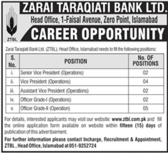 Jobs In ZTBL Zarai Taraqiati Bank Limited May 2018 Apply Online