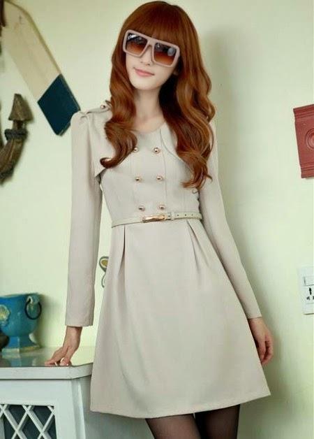 Dress korean style lengan panjang umurnya