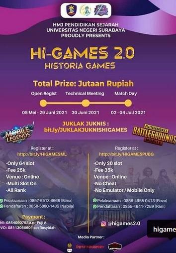 HI-GAMES Online Tournamen Mobile Legends and PUBG Competition
