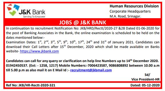 JK Bank BA Exam Date 2020