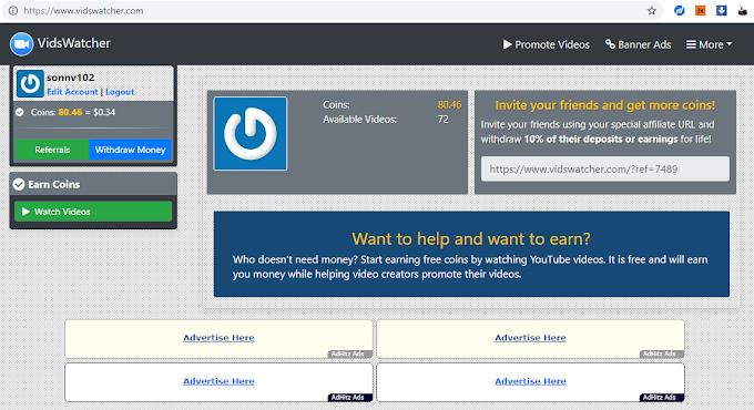 MMO - kiếm tiền từ xem video youtube với Vidswatcher