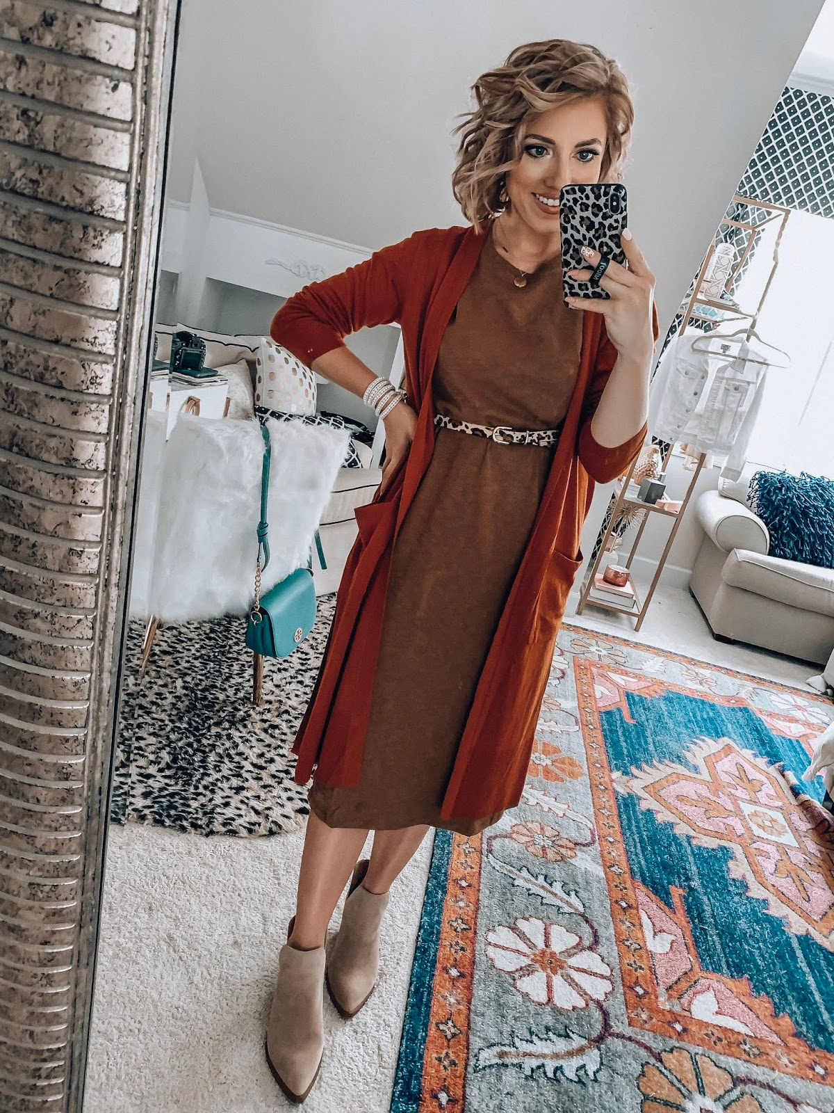 Target Fall Finds: Part One - Under $20 Midi T-Shirt Dress, Under $30 Rust Cardigan and Leopard Belt - Something Delightful Blog