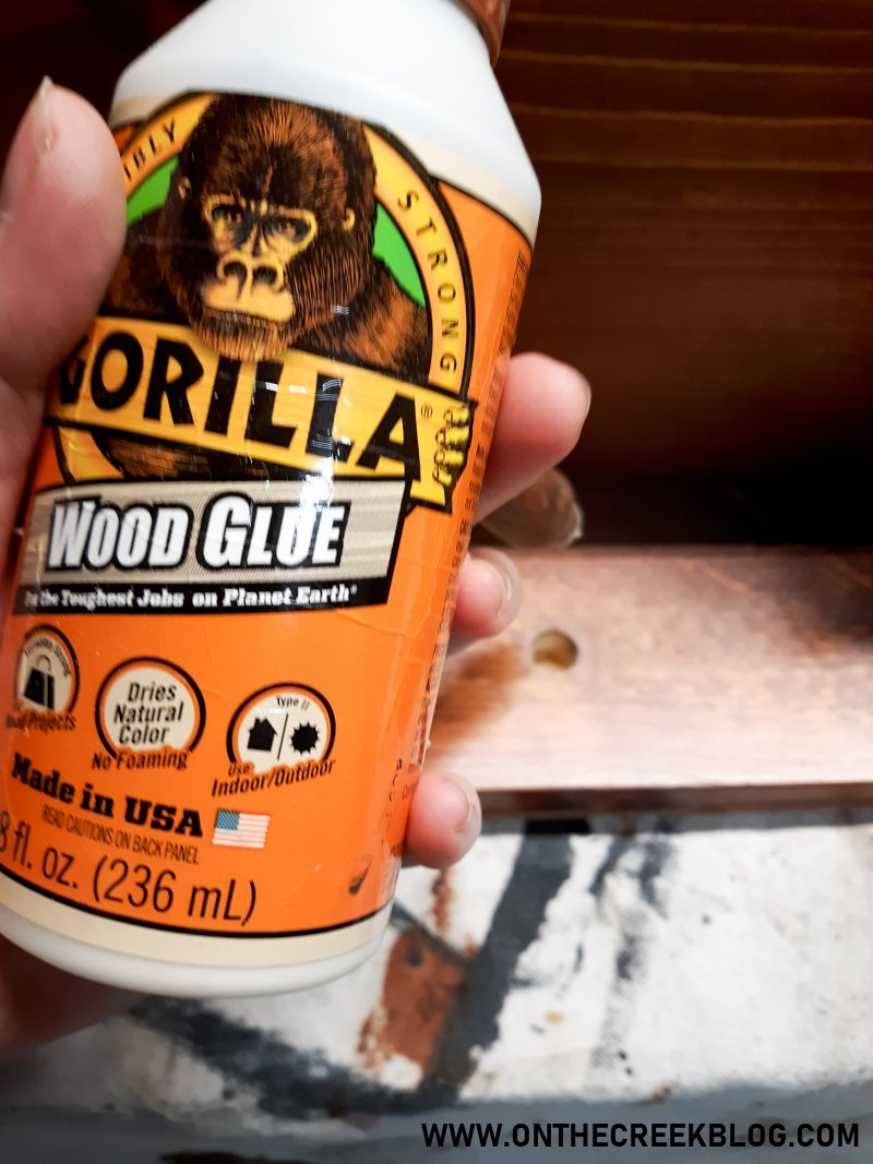Gorilla wood glue used for my White chipppy/distressed cabinet perfect for coffee supply storage! | On The Creek Blog
