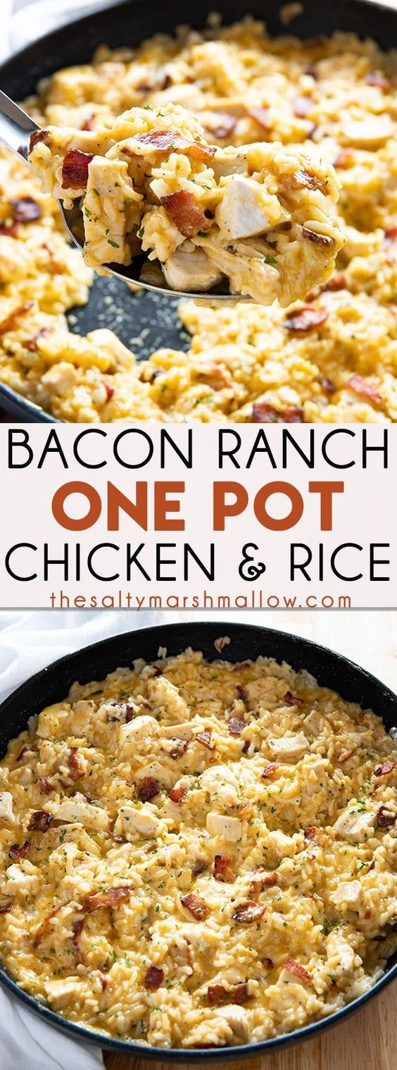 Bacon Ranch One Pot Chicken and Rice #dinner #maincourse #bacon #ranch #one #pot #chicken #rice