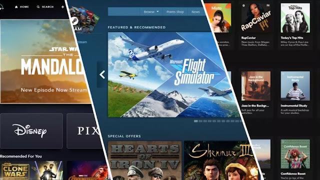 Capturas de pantalla de la página de inicio de Disney +, Steam Storefront y la página de inicio de Spotify.