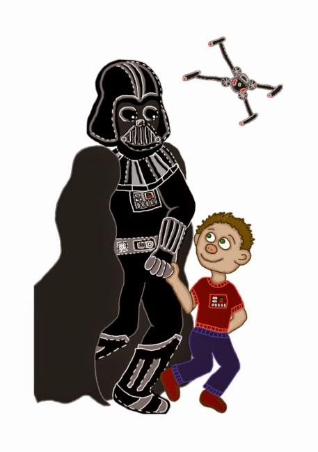 Illusztráció gyerekvershez, a Sith sötét nagyura, Darth Vader fénykarddal, vele van az erő és egy jedi padavan fiú, felettük X-szárnyú vadászgép.