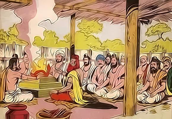 Vyasa and Vishampayana in Janamejaya's sacrice