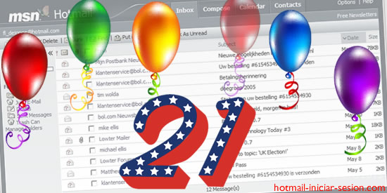 Hotmail  21 años en hotmail iniciar sesion