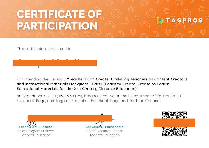 Day 1 | September 4 | Certificate of Participation | Tagpros September-October  6-Day Webinar Series for Teachers