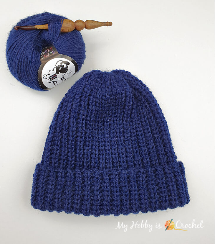 crochet knit-look hat with folded over cuff
