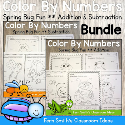 Spring Color By Number Addition and Subtraction Bundle