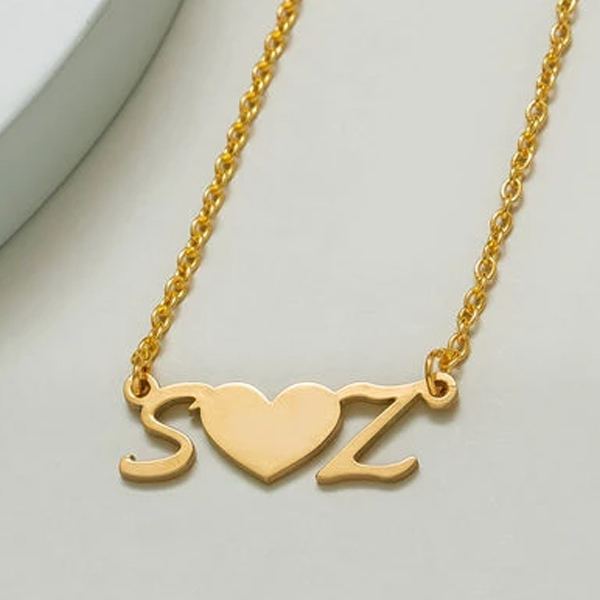 Two Initial With Heart Necklace
