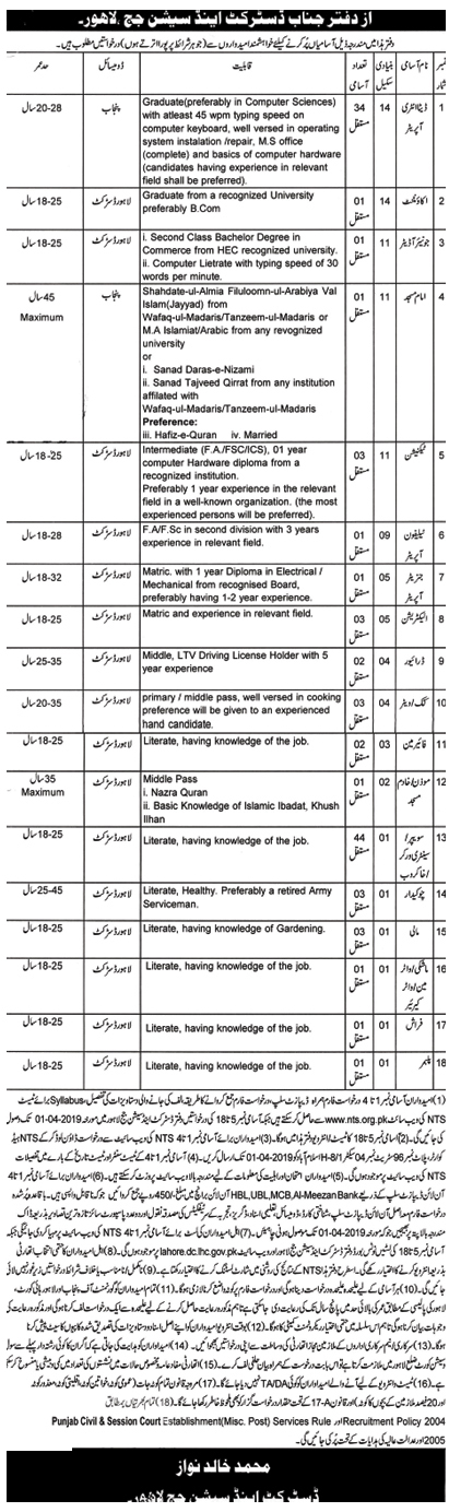 District And Session Judge NTS Jobs In Pakistan